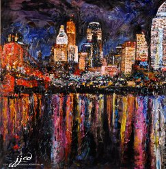 Cincinnati Skyline, acrylic on canvas ~ SOLD