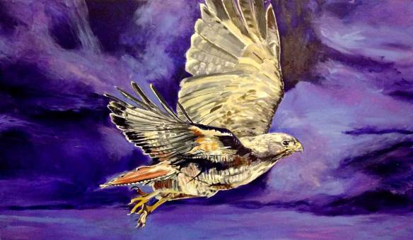 "Capturing Phase_3 of, ""In Flight, Red-Tailed Hawk painting by fine artists, Jeff Johns and Colin Daugherty"