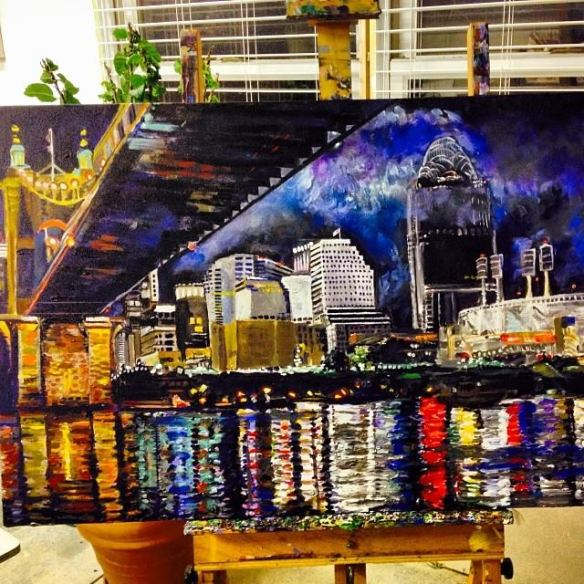 "24"" x 36"" Acrylic on Canvas Cincinnati Skyline Painting,"