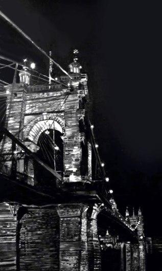 Suspension Bridge in Black and White