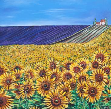 "Fileds of Sunflowers and Lavendar | 48"" x 48"" Acyrlic on Canvas ~ SOLD"