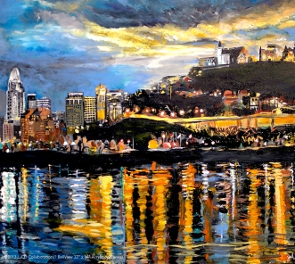 "BellView of Cincinnati Skyline | 32"" x 36"" acrylic on canvas"