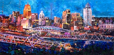 "BluffsView of the Cincinnati Skyline | 24"" x 48"" acrylic on canvas - SOLD"