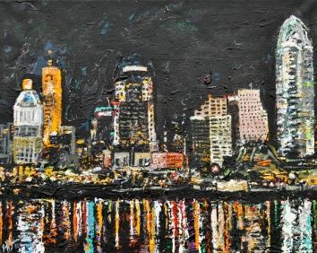 Cincinnati Skyline | acrylic on canvas ~SOLD