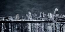 Cincinnati Panorama | Black and white painting of the Cincinnati Skyline ~SOLD