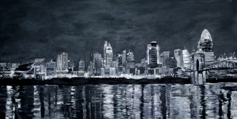 Cincinnati Panorama | Black and white painting of the Cincinnati Skyline ~SOLD