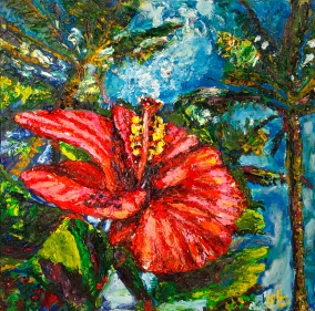 "Hawiaan Hibiscus | 24"" x 24"" oill on canvas"