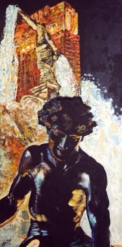 """Fountain + Carew Cincinnati   24"""" x 48"""" acrylic on canvas"""