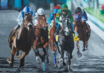 "Kentucky Thoroughbreds | 55"" x 79"" Acrylic on Canvas"