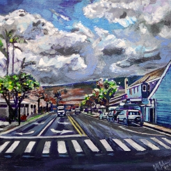 "Maui, Front Street | 12"" x 12"" acrylic on canvas"