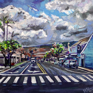 "Maui, Front Street   12"" x 12"" acrylic on canvas"