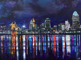 "Cincinnati in December, 30"" x 40"" acrylic on canvas ~ SOLD"