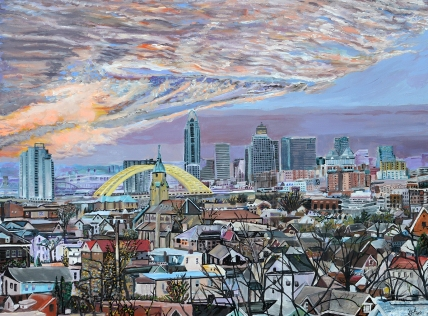 "Sacred View of Cincinnati | 30"" x 40"" acrylic on canvas ~ SOLD"