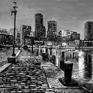 "Boston Skyline | 36"" x 36"" acrylic on canvas ~ SOLD"
