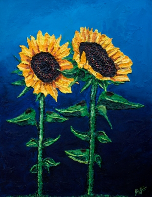 "Royal Sunflowers | 30"" x 40"" Acrylic on Canvas ~ SOLD"
