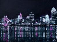 "Pink the Town, Cincinnati   18"" 24"" Acrylic on Canvas (Donation)"