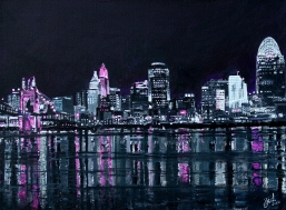 "Pink the Town, Cincinnati | 18"" 24"" Acrylic on Canvas (Donation)"