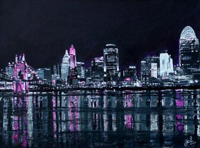 "Pink the Town, Cincinnati | 18"" 24"" Acrylic on Canvas (Donation)"