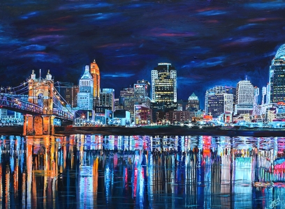 "Cincinnati Skyline | 36"" x 48"" acrylic on canvas ~ SOLD"
