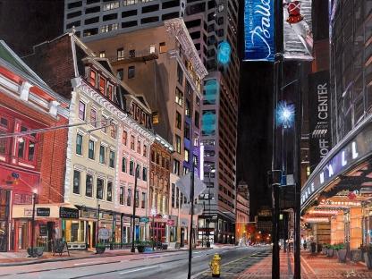 "Walnut Street Cincinnati   30"" x 40"" acrylic on canvas ~ SOLD"