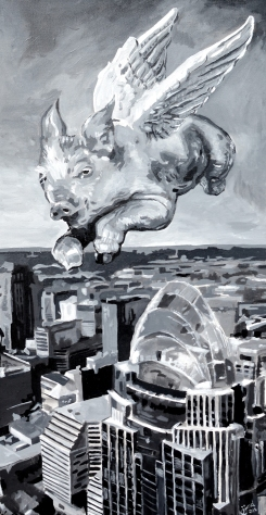 "Flying Pig, Cincinnati | 15"" x 30"" acrylic on canvas ~ SOLD"