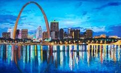 "St. Louis Skyline | 36"" x 60"" Acrylic on Canvas ~ SOLD"