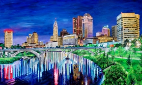 "Columbus Ohio Skyline | 36"" x 60"" acrylic on canvas ~ SOLD"
