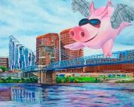 "Flying Pig over Covington, Kentucky   48"" x 60"" acrylic on canvas ~ SOLD"