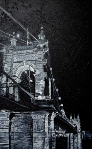 "Suspension Bridge, Roebling | 48"" x 90"" acrylic on canvas ~ SOLD"