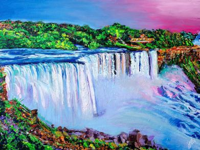 "The Breathtaking Niagara Falls   30"" x 40"" acrylic on canvas ~ SOLD"