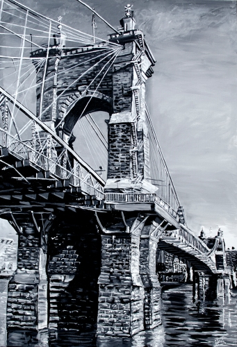 """The Roebling Bridge, a Kentucky Perspective   24"""" x 36"""" ~ SOLD"""