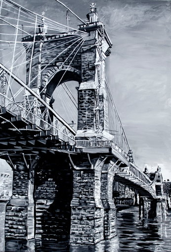 "The Roebling Bridge, a Kentucky Perspective | 24"" x 36"" ~ SOLD"