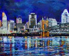 """The Cincinnati Skyline   16"""" x 20"""" acrylic on canvas"""