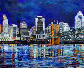 "The Cincinnati Skyline | 16"" x 20"" acrylic on canvas"