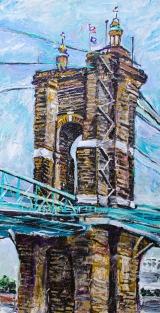"The Roebling Bridge  15"" x 30"" acrylic on canvas"