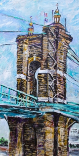 "The Roebling Bridge |15"" x 30"" acrylic on canvas"