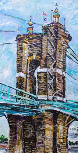 "The Roebling Bridge |15"" x 30"" acrylic on canvas"