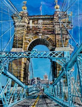 "On the Roebling Bridge   30"" x 40"" Acrylic on Canvas"