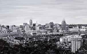 "View from Devou Park, Cincinnati Skyline   30"" x 48"" Acrylic on Canvas ~ SOLD"