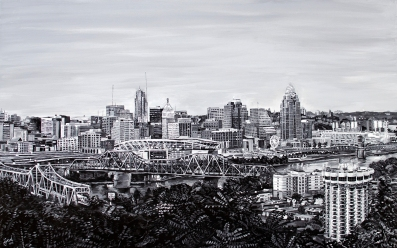 "View from Devou Park, Cincinnati Skyline | 30"" x 48"" Acrylic on Canvas ~ SOLD"
