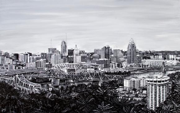 "View from Devou Park, Cincinnati Skyline | 30"" x 48"" Acrylic on Canvas ~ SOLD"
