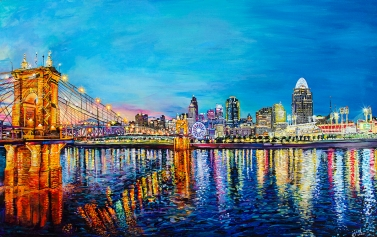 "Cincinnati Skyline   A View from Riverside Terrace   30"" x 48"" ~ SOLD"