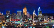 "Cincinnati Skyline | A View from the West Side, 24"" x 48"" acrylic on canvas ~ SOLD"