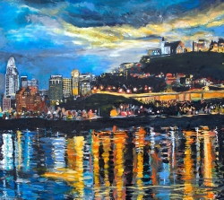 BellView of Cincinnati Skyline | 32″ x 36″ acrylic on canvas