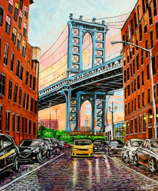 "Sunset on DUMBO, Brooklyn, New York | 24"" x 36"" acrylic on canvas"