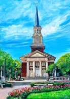 "Wedding Day at Perkins Chapel | SMU Dallas Texas 36"" x 24"" acrylic on canvas ~ SOLD"