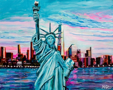 "Liberty Enlightening the World, 16"" x 20"" acrylic on canvas"