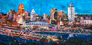 "Bluffs View of Cincinnati, 24"" x 48"" acrylic on canvas ~ SOLD"