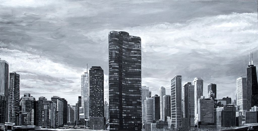 Lake Point Tower, Chicago Skyline Painting