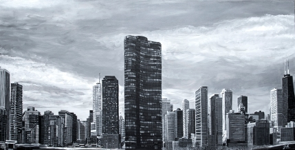"""Lake Point Tower, Chicago Skyline ~ 24"""" x 48"""" acrylic on canvas ~ SOLD"""